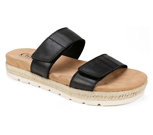 Cliffs by White Mountain Leather Slide Sandals- Tionna