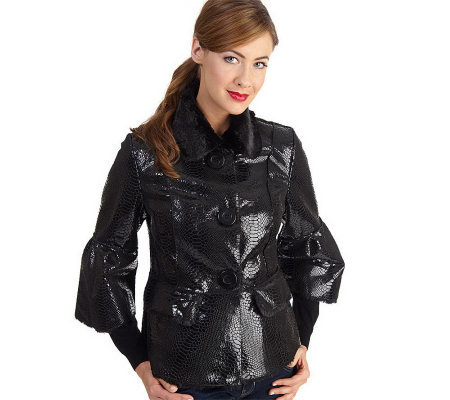 Luxe Rachel Zoe Faux Python and Faux Fur Jacket with Lantern Sleeves