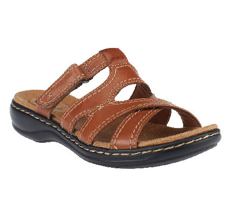 14fa75f9baac Clarks Bendables Leisa Islands Leather Slide Sandals - Page 1 — QVC.com