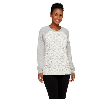 Denim & Co. French Terry Sweatshirt with Lace Front
