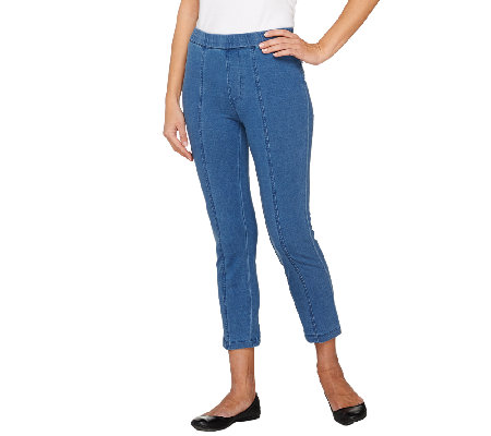 Isaac Mizrahi Live! Knit Denim Crop Jeans w/ Seam Detail