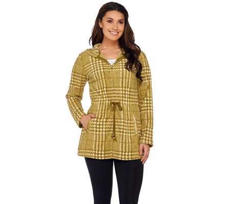 Liz Claiborne New York Houndstooth Fleece Zip Front Hoodie