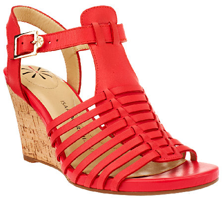 """As Is"" Isaac Mizrahi Live! Fisherman Open Toe Wedge Sandals"