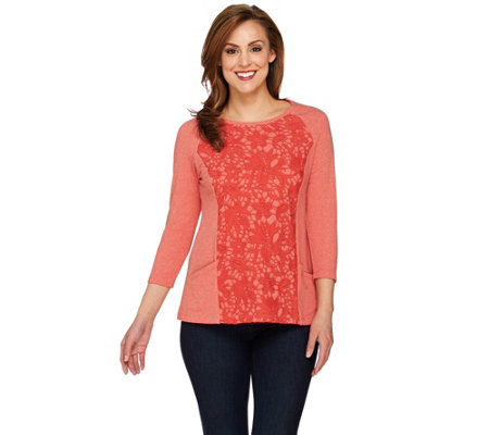 LOGO Lounge by Lori Goldstein French Terry Top with Lace Crochet Front