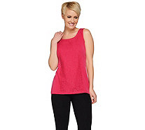 Susan Graver Liquid Knit Scoop Neck Tank with Lace Overlay - A275196