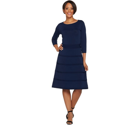 Dennis Basso 3/4 Sleeve Fit and Flare Sweater Dress