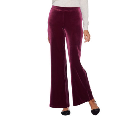 Isaac Mizrahi Live Regular Knit Velvet Wide Leg Pants