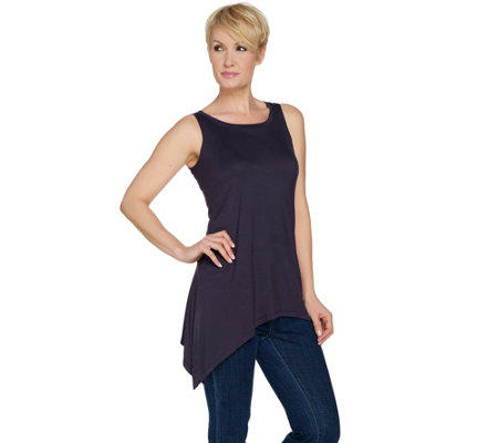 LOGO Layers by Lori Goldstein Tank with High Slit at Asymmetric Hem