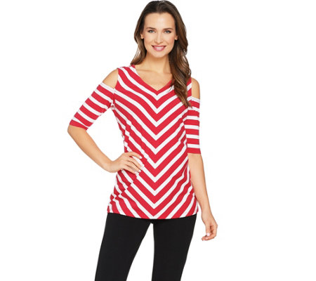 Susan Graver Weekend Striped Stretch Cotton Modal Cold Shoulder Top