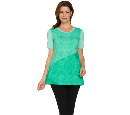 H by Halston Short Sleeve Color Block Print Knit Tunic