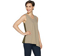 Susan Graver Striped Stretch Cotton Modal Reversible Sleeveless Top - A292296
