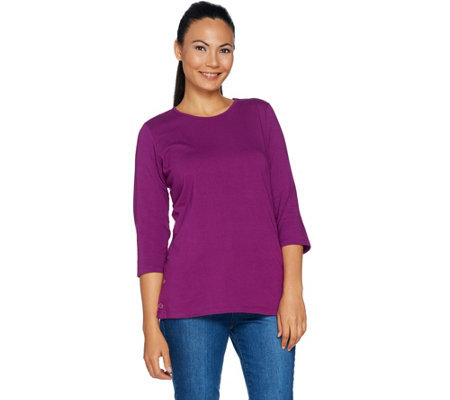 Denim Co Essentials 3 4 Sleeve Round Neck Top With Button Detail