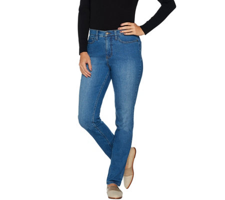 Studio by Denim & Co. Petite Classic Denim Straight Leg Jeans