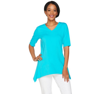 """As Is"" Denim & Co. V-Neck Elbow Sleeve Trapeze Top w/ Seam Detail"