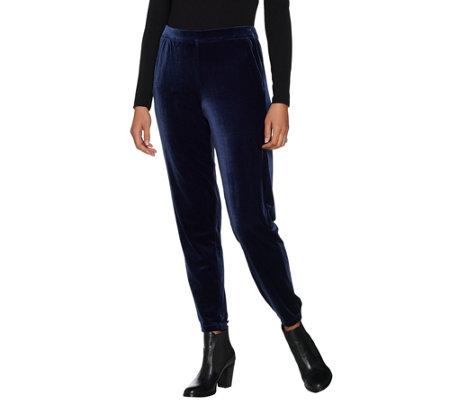 Isaac Mizrahi Live Petite Knit Velvet Jogger Pants