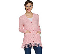 Isaac Mizrahi Live! TRUE DENIM Mixed Stitch Fringe Cardigan - A300896