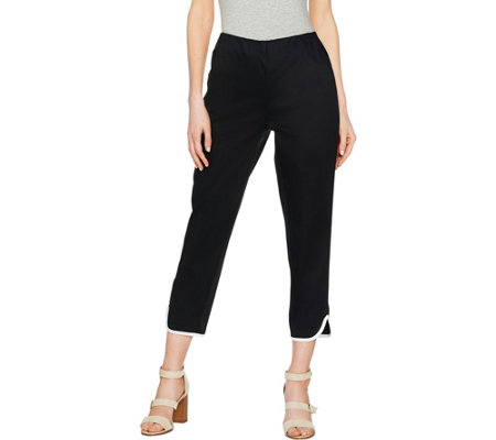"""As Is"" C. Wonder Regular Cotton Sateen Crop Pants with Hem Detail"