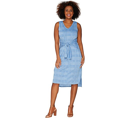 H by Halston Regular Knit Pattern Midi Dress with Waist Tie