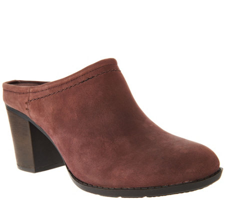 """As Is"" Clarks Leather Stacked Heel Mules Enfield Sandy"