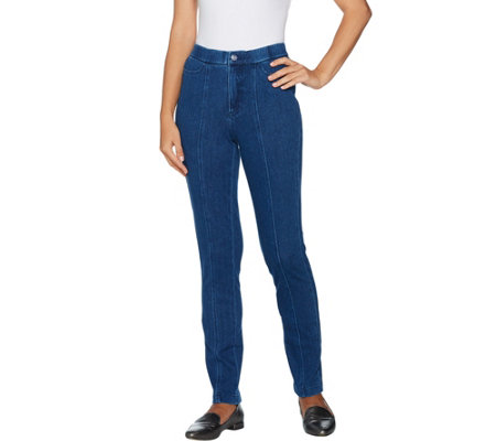 """As Is"" Isaac Mizrahi Live! Petite Knit Denim Slim Leg Jeans w/Pocket"