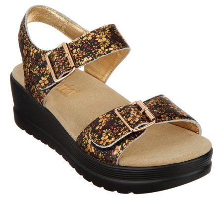 Alegria Leather Multi Strap Wedge Sandals - Morgyn