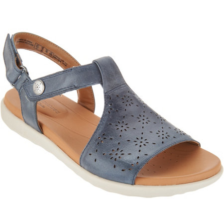 Clarks UnStructured Leather T-Strap Sandals - Un Reisal Mae