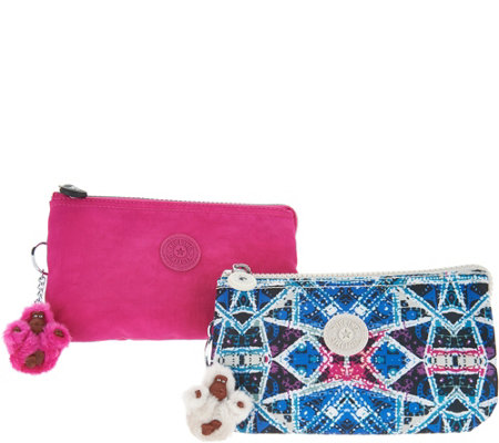 """As Is"" Kipling Nylon Set of 2 Expandable Clutches- Creativity L"
