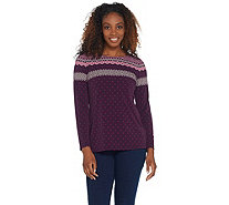 Susan Graver Artisan Printed Liquid Knit Long Sleeve Top - A310096