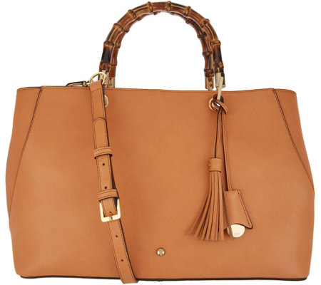 G.I.L.I. Leather Amalfi Tote with Bamboo Handles