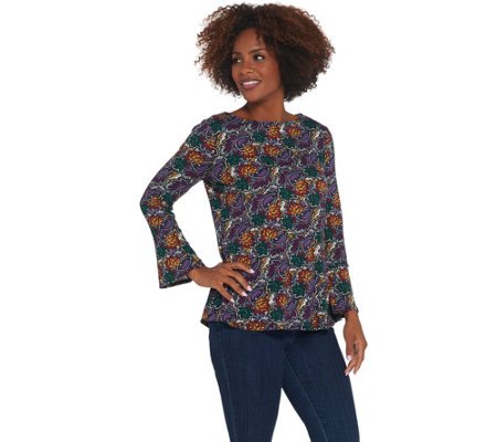 Susan Graver Printed Brushed Liquid Knit Top