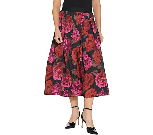 Joan Rivers Regular Length Midnight Garden Midi Skirt