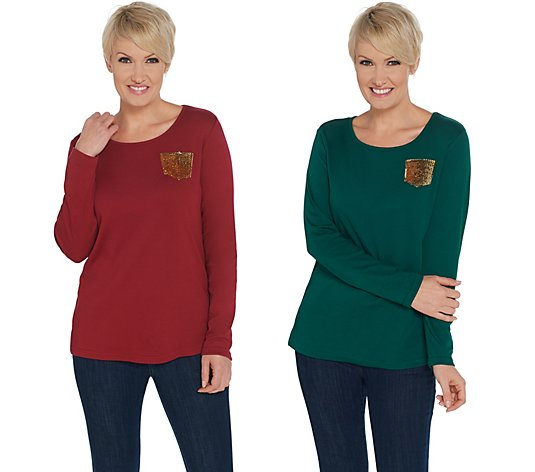Quacker Factory Set of Two Knit Tops with Gold Sequin Pocket