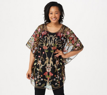Tolani Collection Embroidered Mesh Caftan Tunic