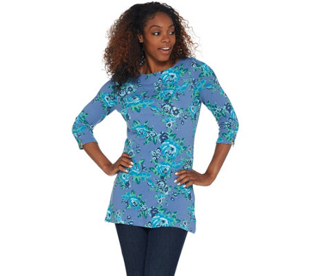 As Is Denim Co Printed Heavenly Jersey Tunic With Zipper Cuff