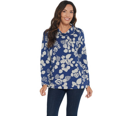 """As Is"" Denim & Co. Active Floral Printed French Terry Long-Sleeve Top"