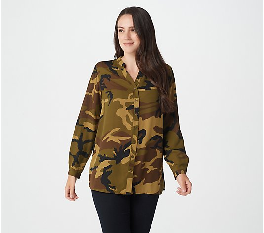 Joan Rivers Silky Camouflage Blouse