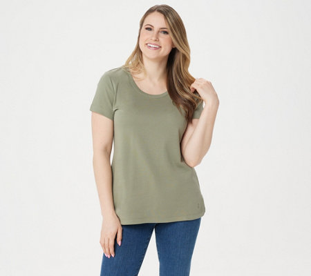 """As Is"" Isaac Mizrahi Live! Essentials Pima Cotton Scoop- Neck T-Shirt"