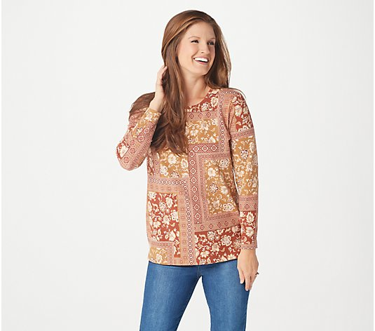 Denim & Co. Printed Perfect Jersey Long-Sleeve Tunic