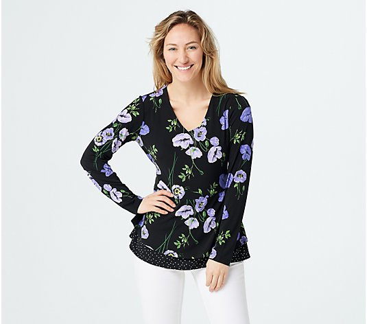 Susan Graver Printed Liquid Knit Peplum Top with Tie Detail