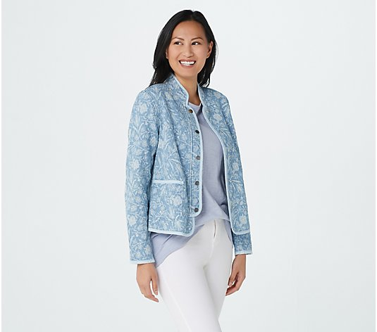 Isaac Mizrahi Live! TRUE DENIM Quilted Floral Printed Chambray Jacket