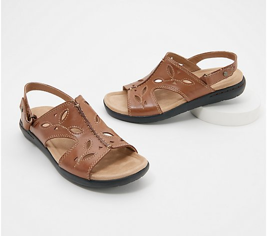 Earth Origins Leather Cutout Sandals - Tawny Trish