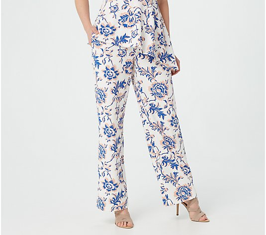 Dennis Basso Printed Luxe Crepe Pull-On Wide-Leg Pants