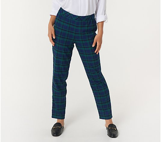 Joan Rivers Petite Pull On Plaid Ankle Pants