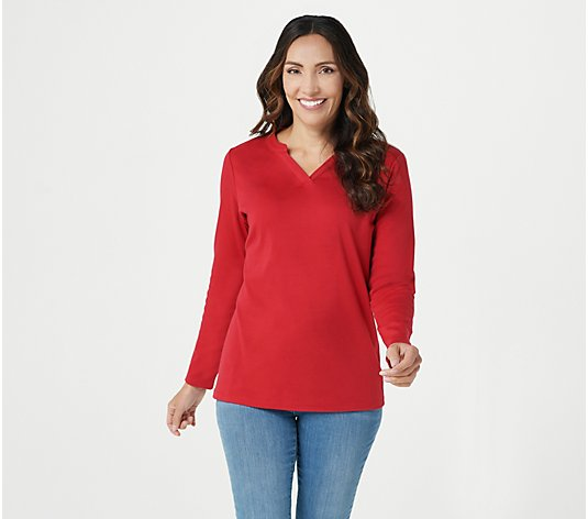 Denim & Co. Split V-Neck Long Sleeve Top