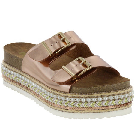 MIA Shoes Flat Slide Sandals - Topaz