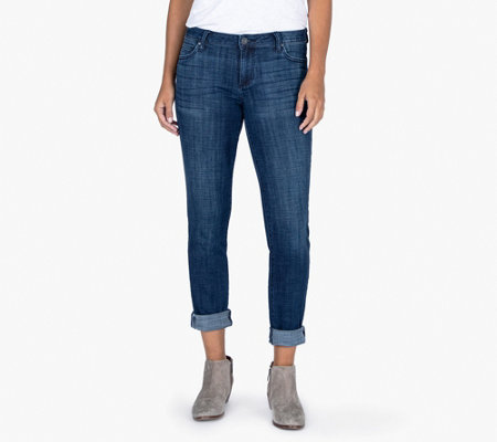 Kut from the Kloth Catherine Boyfriend Jeans with Roll Trim