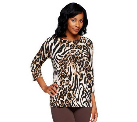 Susan Graver Liquid Knit Animal Print Bateau Neck 3/4 Sleeve Top