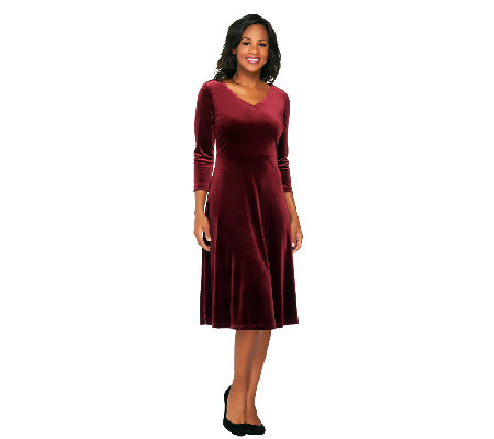 Isaac Mizrahi Live V Neck Knit Velvet Dress