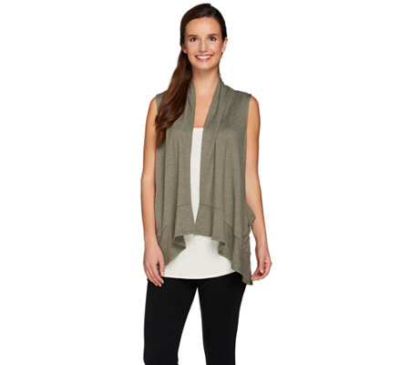 LOGO Lounge by Lori Goldstein Drape Front Vest with Pockets