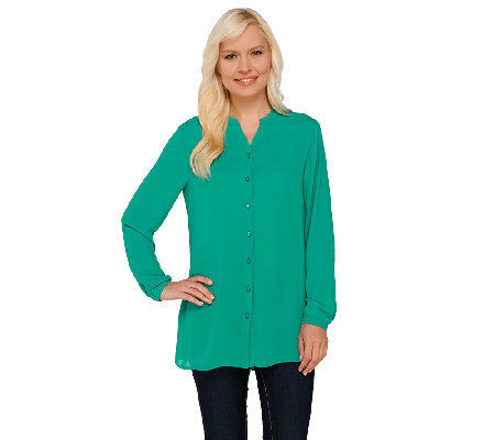 Susan Graver Georgette Long Sleeve Y-neck Button Front Shirt